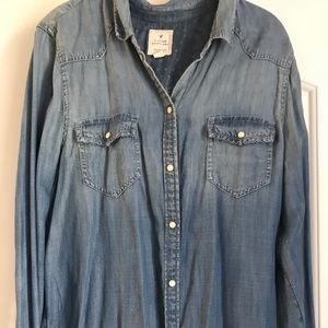 American Eagle Button Up Jean Shirt